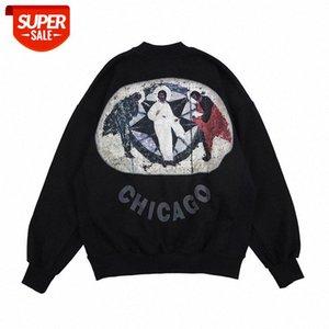 American Street Moda Jesus Sweater Hip Hop High Oversize Religiosa Mural Imprimir Pullover Homens # QP7B