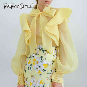 Twotwinstyle Bowknot Shirt para mujer Soporte Collar Linternas de manga larga camisas blusa blusa femenina 2020 verano moda nuevo T200321