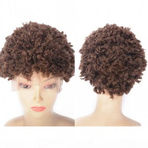 Peruvian Lace Front Wig 27# Tight Kinky Curly Short Human Hair Wigs for Black Women Swiss Lace Cap