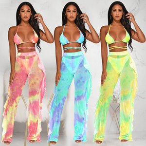 Women summer sexy clothing vest+pants summer swimsuit new women's mesh pants suit two-piece nightclub DHL free
