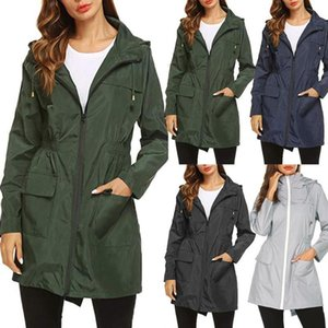 Women Fashion Outdoor Jacket Trench Coat Autumn Winter Outdoor Climbing Windproof Waterproof Long Jacket Female Hooded Coats