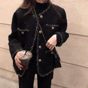 Korean Female Black Tweed Jacket Coat Women Outerwear Coats Channel Style Suit Cropped Stripeed Kawaii Round Neck Casual Women's Jackets