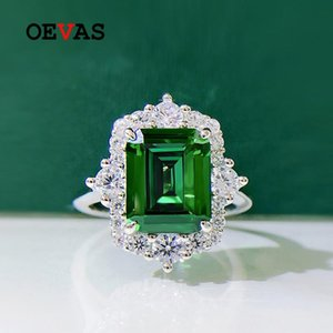Cluster Rings OEVAS 100% 925 Sterling Silver 8*10mm Square Emerald High Carbon Diamond For Women Sparkling Wedding Party Fine Jewerly