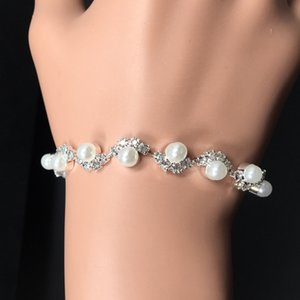 Bridal Pearls Adorned Crystal Beaded Bracelets Hand Accessories Bridal Jewelry Chain