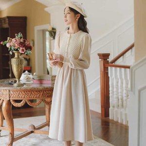 Elegant Patchwork Knit Dress Women Autumn Winter Long Puff Sleeve Sweater Dress Spring Autumn Plus Size Long Party Dress G1011
