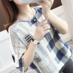 Women Spring Summer Style Blouses Shirts Lady Casual Short Sleeve O-Neck Plaid Printed Loose Blusas Tops ZZ0693 Women's &