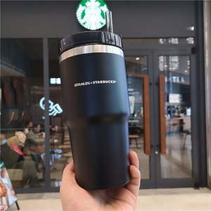 20oz Starbucks frosted black stainless steel straw cup Stanley solid color large capacity car portable water cup gift