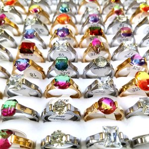 30pcs lot Assorted Color Stone Ring Women Gold Silver Stainless Steel Clear Crystal Charm Rings Girls Accessories Wholesale Wedding Engagement Jewelry Party Gift