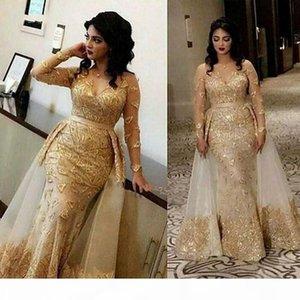 Sparkly arabe pure manches longues dentelle sirène robes de soirée de sirène 2020 V COU TULLE Applique sur une jupe Formel Formal Fête Chambre BC2911