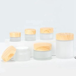 Frosted Glass Jar cream bottle Storage Boxes with imitation wooden lids 5G 10G 15G 30G DHB6265