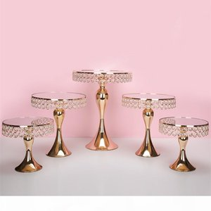 5pcs set Gold Crystal cake holder stand cake pan cupcake sweet table candy bar table centerpieces wedding decorations