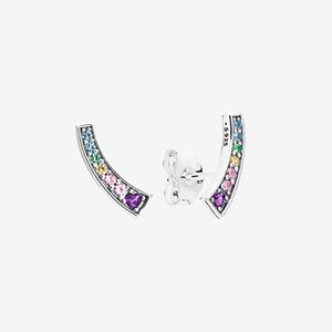 Beautiful Colors stone Rainbow Stud Earring Women Girls Gift with Original box for Pandora 925 Sterling Silver Earrings set
