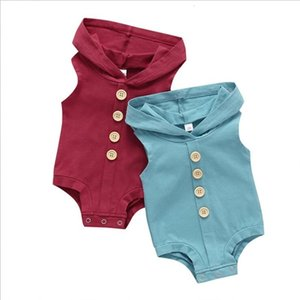 Kids Designer Clothes Baby Hooded Rompers Summer Sleeveless Button Triangle Jumpsuits Boys Girls Solid Bodysuit Outdoor Casual Onesies PY581