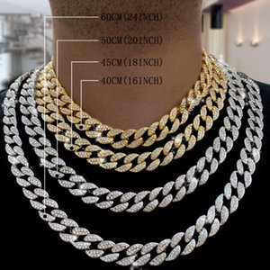 Chains Miami Curb Cuban Chain Necklace 16mm 30inches Gold Color IcedOut Paved Rhinestones CZ Bling Rapper Necklaces Men Hip Hop Jewelry
