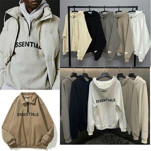 2021 Fear of God Fog Essentials Half-zip Stand Collar Sweatshirts Men Women Hoodie Essential Pullover Crewneck Streetwear Q8b4#