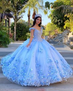 2021 Luxury Pink Sky Blue Quinceanera Dresses Ball Gown Off Shoulder Lace Appliques Crystal Beaded 3D Floral Flowers Sweet 16 Party Prom Dress Evening Gowns