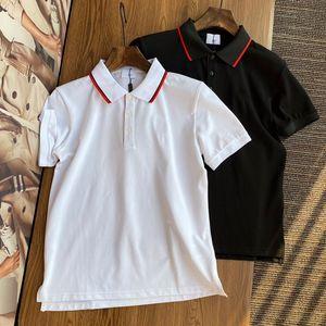 Мужские S POLOS Классические буквы Вышивка полоса роскошный высококачественный мода верхний мужской рубашка поло Черно-белая повседневная короткая рукава M-3XL
