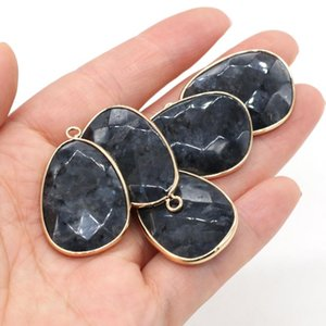 Charms 23x34mm Fashion Natural Black Flash Stone Faceted Drop Shape Pendant For Jewelry Making DIY Necklace Earrings Accessories