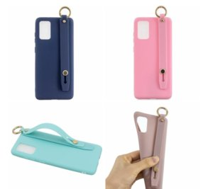 Band Strap Holder Soft TPU Cases For Samsung S20 Ultra A11 A01 A41 A51 A71 A81 A91 A21 Huawei P40 Pro Lite Push Wrist Grip Strip Cover