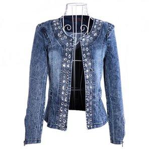 Womens Suits Blazers Casaco Feminino Fashion Women Diamonds Denim Jacket Coat Ladies Tops Slim Jeans Top Plus Size Blazer 4XL