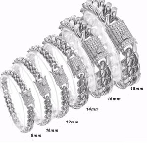 Link, Chain 8 10 12 14 16 18mm 7-11inch Fashion Crystal Stainless Steel Silver Miami Curb Cuban Bracelet Wristband Mens Womens Jewelry