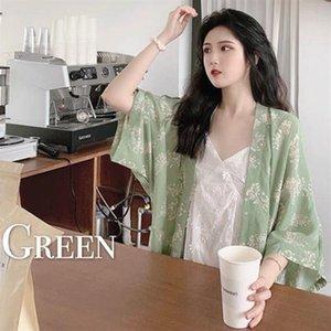 Ethnic Clothing Japanese Style Retro Women Blouses Print Shirts Three Quarter Sleeve Summer Loose Sun-Proof Thin Outwear Female Elegant Casu