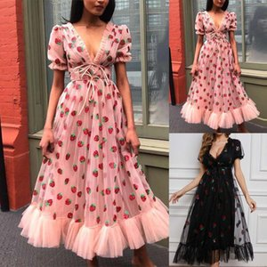 Fashion Sweet Dress For Party Women Casual Puff Short Sleeve V-neck Printed Lace Ladies Long Vestido De Mujer Dresses