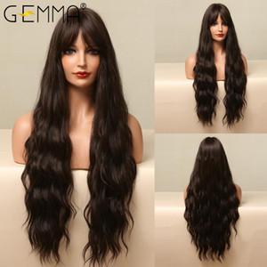 Parrucche sintetiche Gemma Lunga Wave Wave con Bangs Natural Black Black Brown Brown Cosplay Daily Capelli resistenti al calore per le donne Afro