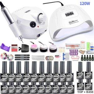 With 120 54 6W UV LED LAMP 10 20 Colors Gel Drill Machine Polish Kit Nail Art Tools Set