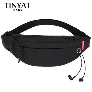 TINYAT Men Waist pack Purse Casual Large Phone Men's Belt Pouch Running Kid Women Banana Bag 4 pockets black Handbag LJ200930