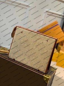 M80351 M47542  POCHETTE POUCH bag Women men Designer top end raffia-like woven cowhide leather Clutch Small handbag purse
