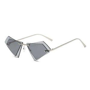 new triangle Rimls Sunglass Men Women 2021 Fashion Shad UV400 Vintage Glass
