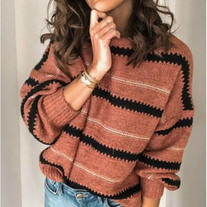 Autumn Winter Women Long Sleeve Sweater Loose Fashion Patchwork O Neck Pullover Sexy Tops Female Top Women's Sweaters
