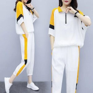 Womens 2 Piece Sets Summer Set Casual Loose Plus Size Suit Top + Long Trousers Fahion Sports 3XL Sport Wear Gym Women's Tracksuits