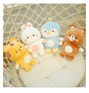 23cm plush dolls cute tiger penguin rabbit bear pillow stress relief toy with women doll