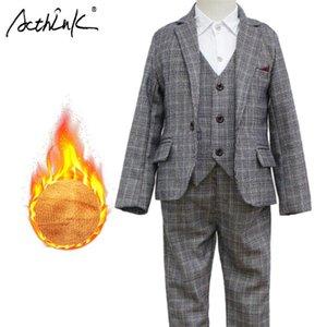 Suits Boys Winter Plaid Clothing Set Brand 3Pcs Children Vest Suit With Fleece Stylish Blazer Tuxedos Kids Warm