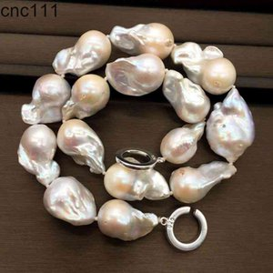 Better Quality 20-30mm Large Size Tissue Nucleated Flame Ball Shape Baroque Freshwater Pearl Statement Necklace OC Clasp