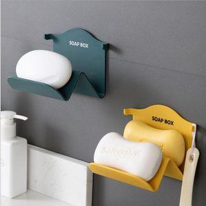 1PCS Innovador Soporte de jabón innovador Montado en pared Bandeja de soporte de drenaje antideslizante para platos de ducha de baño