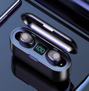 F9 Wireless Earphone Bluetooth V5.0 Earbuds Headphone Cell Phone Earphones LED Display With 2000mAh Power Bank Headset Microphone MQ01