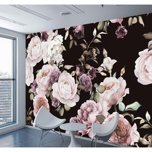 Wallpapers Décor & Garden Drop Delivery 2021 Custom 3D Wallpaper Hand Painted Black White Rose Peony Flower Mural Living Room Home Decor Pain