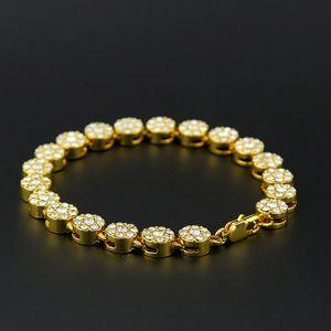 Unisex Hip Hop Bling Jewlery 24K Real Gold Plated MIAMI CUBAN LINK Chain Shiny Crystal Rhinestones Bracelets Hip Hop Bling Bangle ZHL2375