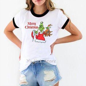 عيد الميلاد جرين جرين الطباعة بلايز إمرأة تي شيرت مضحك فوج فام المتناثرة الملابس الجمالية زائد حجم الإناث قميص