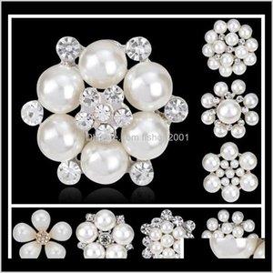 Épingles Alliage d'alliage Sier Plaqué Flower Petal Clear Strass Broches pour cadeaux de mariage Pearl Corn Pin 9 Tonnes MyV Xvywa