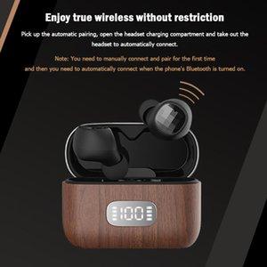 Nofa Q5 TWS Auriculares 5.0 en audífonos para la oreja con caja de carga de madera auriculares de teléfono celular