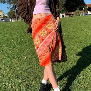 Korean Style High Waist A-Line Midi Skirts Summer Sexy Y2K Aesthetic Harajuku 90s Vintage Streetwear Clothes Floral Boho Skirt