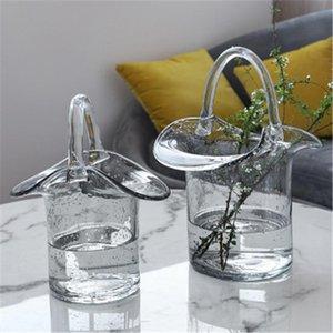 Glass Handbag Vase Portable Bubble Bag Creative Flowers Basket Plants Holder Desktop Flower Bottle Arrangement Decor Vases