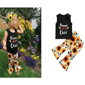 Kids Clothing Sets Girls Outfits Baby Clothes Children Girl Suits Summer Cotton Sleeveless Vest Flower Top Flared Trousers 2Pcs B6842