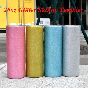20oz Glitter Tumblers Mugs Stainless Steel Skinny Tumber Rainbow Tumblers Vacuum Insulated Beer Coffee Mugs with Straw and lid