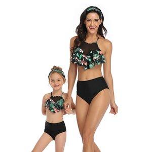 2020 Family Matching Mother Daughter Push Up High Waist Bikini Swimwear Women Swimsuit Girls Swim Bathing Suit Mayo Beach Dress