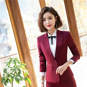 Fashion Wine 2019 Uniform Styles Women Blazers and Jackets Coat Spring Autumn Ladies Office Tops Blaser Clothes Long Sleeve